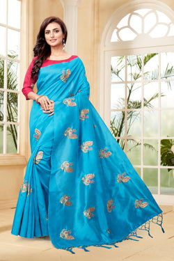 YOYO Fashion New Latest Joya silk Firoji Embroidered Saree With Blouse $YOYO-SS-SARI2651