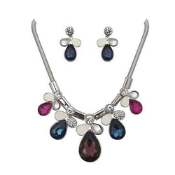 Taniska Fashions Multicolour Crystal Stone Silver Plated Necklace Set