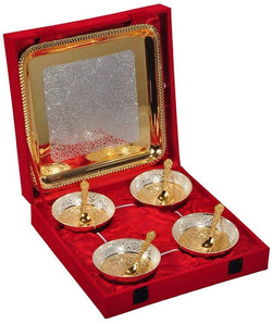 International Gift Gold Plated Bowl with Gold Plated Spoon and Gold Plated Tray (Set of 9 Pics, Gold) with Velvet Box Packing Exclusive Gift Items for Diwali Gift, Wedding Gift and Corporate Gift $ IGSPBR108