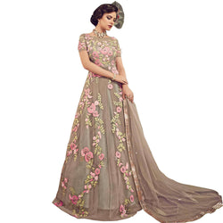 YOYO Fashion Grey Nylon Net Anarkali Salwar Suit & YO-F1301