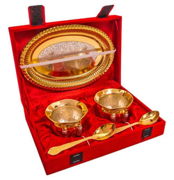 Gold Plated Handi and Gold Plated Spoon and Gold Plated Tray (5 Pcs Set) with Beautiful Red Velvet Box Packing Exclusive Gift Items for Diwali Gift, Wedding Gift and Corporate Gift $ IGSPBR101041