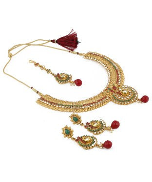 Aradhya Stone, Brass, Metal Jewel Set (Gold, Red, Green)