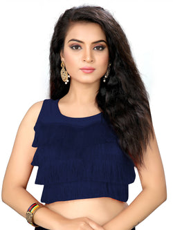 YOYO Fashion Navy Blue Silk Solid Blouse & YO-BL4010-Navy_Blue