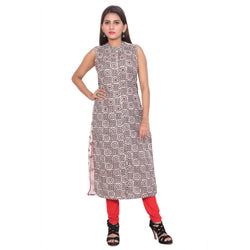 Chhapai Sleeveless Printed Multi Straight Chanderi Kurti $ CK-1027