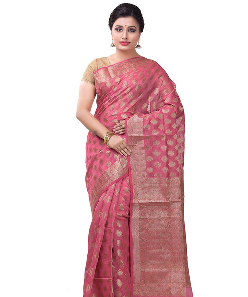 Varuna pink cotton blend saree FIBRIS015PI_Pink