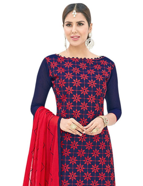 DnVeens Chanderi Cotton Embrodery Salwar Kameez Suit Set Dress Materials For Women $ BLGNGSMR1001