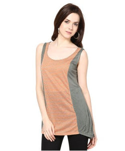 Kaxiaa Orange, Grey And White S/L Top
