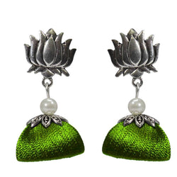Ailsie Stylish Jhumka Earrings For Women Fashion Beautiful Sliver Antique Lotus Design Silk Thread Earring - Green