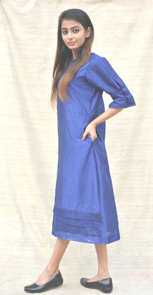 Khadi Silk Royal Blue A-line Tunic $ IWK-000487