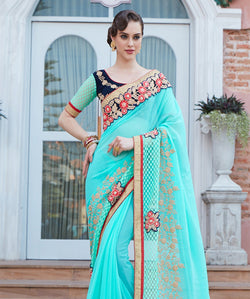 Fashion FizaGreen Georgette EMBROIDERY Saree with blause pice