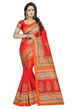 16TO60TRENDZ Red Color Printed Bhagalpuri Silk Saree $ SVT00493