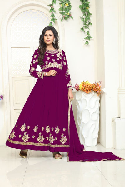 YOYO Fashion Designer Latest Faux Georgette Embroidred Salwar Suit - F1132-Purple