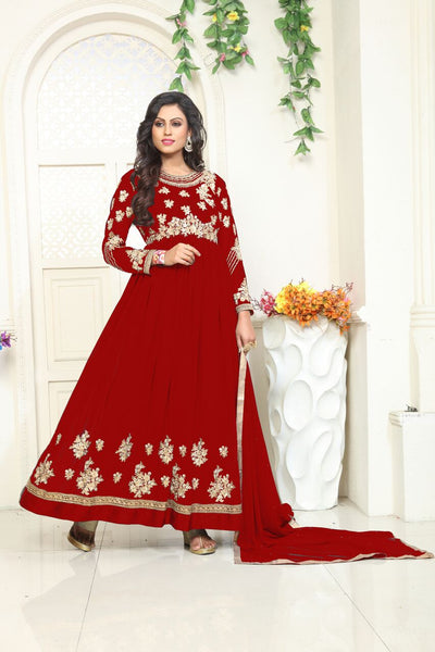 YOYO Fashion Designer Latest Faux Georgette Embroidred Salwar Suit - F1132-Red