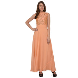 EMBROIDERY WORK LONG GEORGETTE DRESS FOR WOMEN $ GB0011