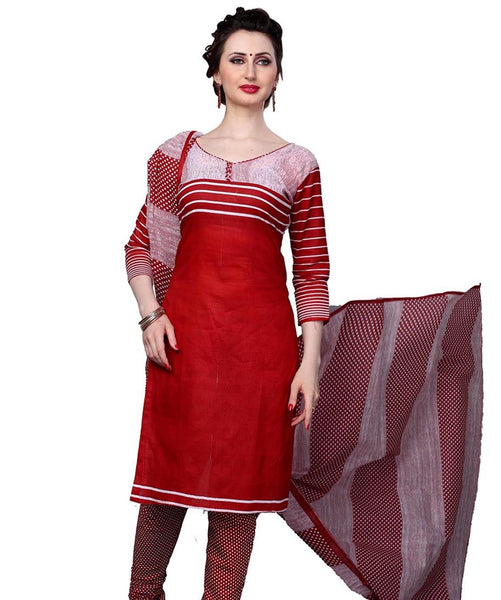 Minu Suits Red Cotton Salwar Suits Sets Dress Material Freesize,Redbeauty16_16013