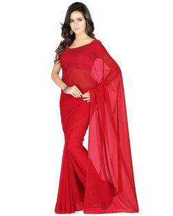 Muta Fashions Women's Unstitched Georgette Red Saree $ MUTA213