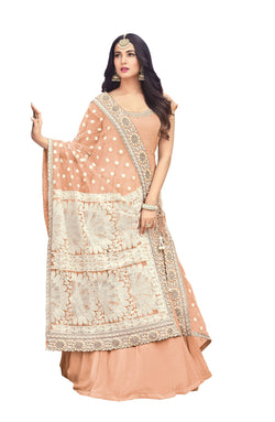 YOYO Fashion Latest Fancy Semi-stitched Faux Georgette Embroidered Anarkali Salwar Suit $ YO_F1252-Peach