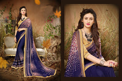 Fashion Zonez Jari Embroidery with Multi Embroidery Lace Border Georgette Blue Designer Saree With Blouse $ FZ 1978