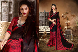 Fashion Zonez Jari Embroidery with Multi Embroidery Lace Border Georgette Black & Red Designer Saree With Blouse $ FZ 1980