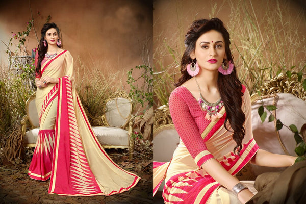 Fashion Zonez Jari Embroidery with Multi Embroidery Lace Border Georgette Beige & Pink Designer Saree With Blouse $ FZ 1981