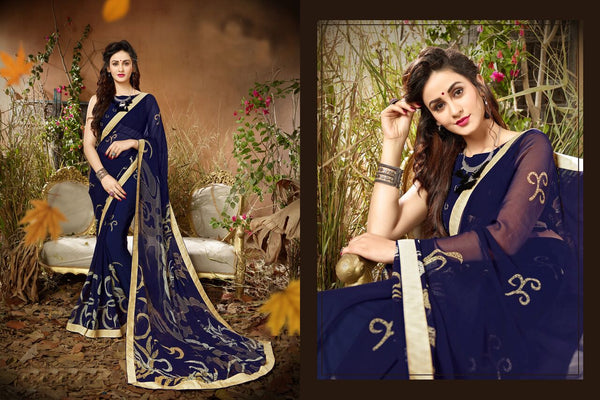 Fashion Zonez Jari Embroidery with Multi Embroidery Lace Border Georgette Blue Designer Saree With Blouse $ FZ 1982