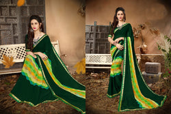 Fashion Zonez Jari Embroidery with Multi Embroidery Lace Border Georgette Green Designer Saree With Blouse $ FZ 1983