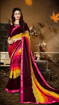 Fashion Zonez Jari Embroidery with Multi Embroidery Lace Border Georgette Multicolor Designer Saree With Blouse $ FZ 1984