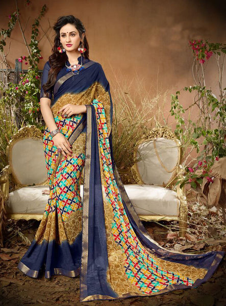 Fashion Zonez Jari Embroidery with Multi Embroidery Lace Border Georgette Blue & Beige Designer Saree With Blouse $ FZ 1986