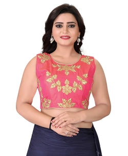 YOYO Fashion Light Pink Silk Embriodered Extra Sleeve With Blouse $ YOYO-BL4001-Light Pink
