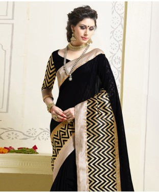 Hypnotex black saree with unstiched blouse