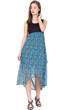 Boxymoxy Women's Printed Multicolor Casual LONG DRESS $ ZB-D3