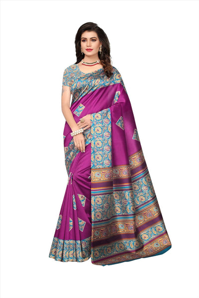 BL Enterprise Women's Bhagalpuri Cotton Silk Kalamkari Purple Color Saree With Blouse Piece $ BLLB-22