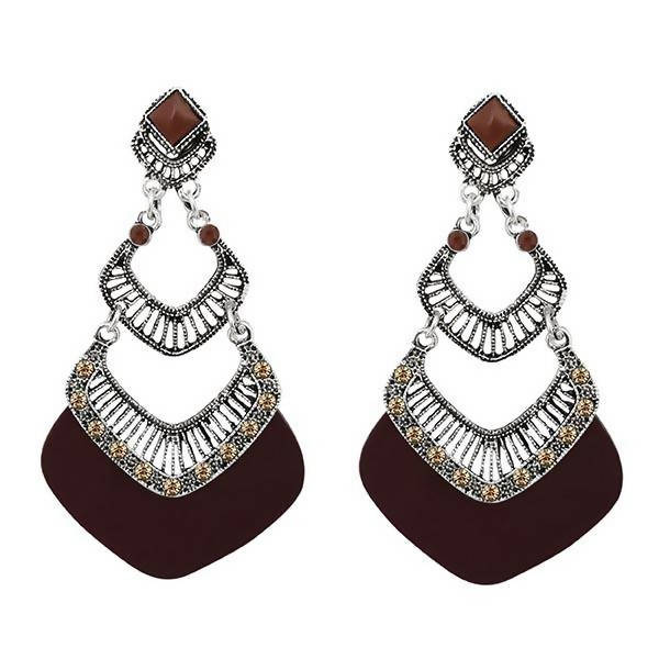 Tanishka Fashion Brown Enamel Silver Plated Dangler Earrings $ 1314016C