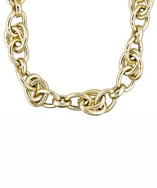 Double Oval Link 18k Yellow Gold Over Bronze 18 Inch Necklace