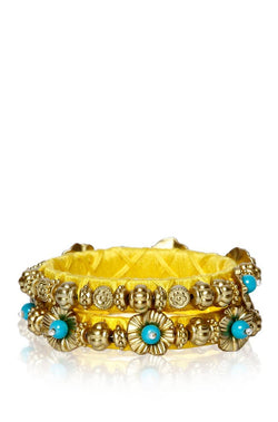 Bauble Burst Phool Bahar Yellow Bangles Set