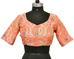 Stitch O Fab Peach color zari work Women Blouse-SOFpzewb136