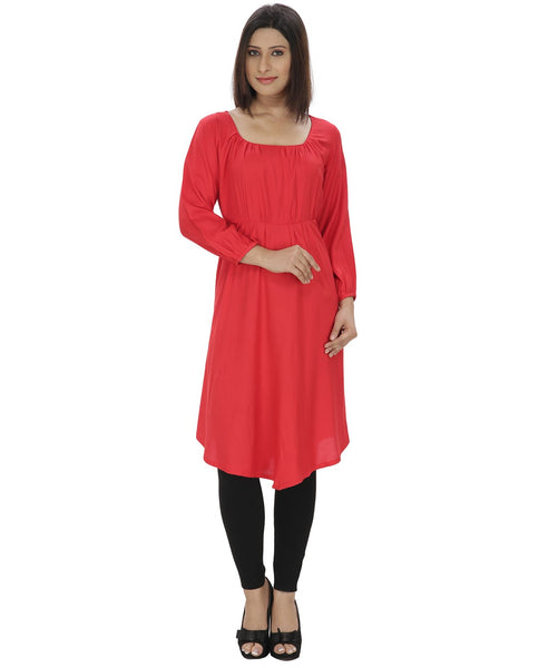 KAVYANI Red Rayon Kurti-WE760RED_RED