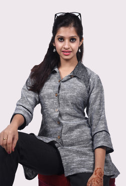 Khadi Grey and Black Jacket Top $ IWK045