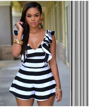 Enigma Black And White Jumpsuit With G String