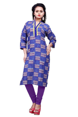 Muta Fashions Women's Stitched Polyster Cotton Blue Knee length kurta $ KURTI406