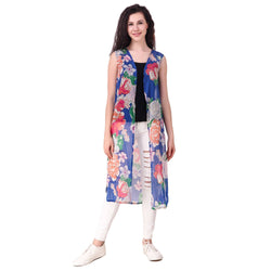 Fame 16 Sleeveless Women's Blue Chiffon Floral Printed Shrugs $ F16-1600186