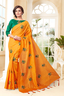 YOYO Fashion New Latest Joya silk Orange Embroidered Saree With Blouse $YOYO-SS-SARI2653