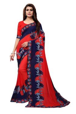YOYO Fashion Embroidered Georgette Red Saree With Blouse $SARI2611-Red