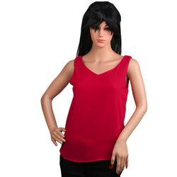 Fashiontiara Chiffon V neck Top & Tunic Sleeveless casual wear Small Size women girls $ FTT165