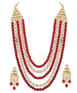 Aradhya Brass Jewel Set (Red, Gold)