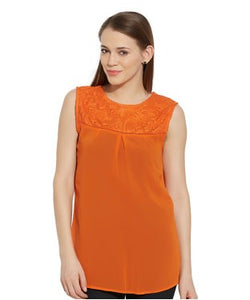 VIRO Sleeveless Round Neck Georgette fabric Orange Top