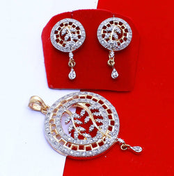 Ankita Fashion Gold Plated American Diamond AD round Pandadi pendant set $ AF78861239