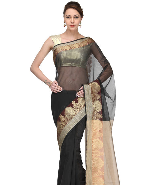 Supernet Fancy Zari Border Banarasi Saree.JF960AKT_Black