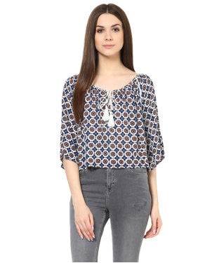 Miway Women Navy Coin Floral Crop Top