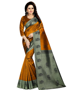 Muta Fashions Women's Unstitched Art Silk Mustard Saree $ MUTA1407